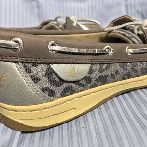 Sperry Top Siders Taupe Leather Leopard Print